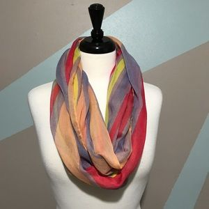Peach Pink Purple Green Striped Infinity Scarf